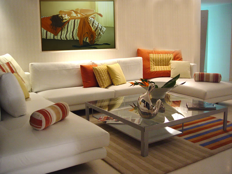 Orange accents in living room